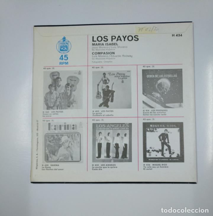 Discos de vinilo: LOS PAYOS - MARÍA ISABEL / COMPASIÓN. SINGLE. TDKDS12 - Foto 2 - 138605746