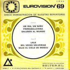 Discos de vinilo: EP DISCO DEMOSTRACION BELTER EUROVISION 69 ( MICHEL FRIDA BOCCARA MADALENA IGLESIAS IVAN & M' S . Lote 138614082