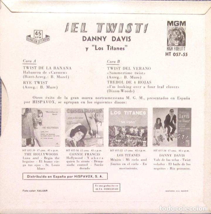 Discos de vinilo: DANNY DAVIS Y LOS TITANES - EL TWIST - RARO EP EDICIÓN ESPAÑOLA SELLO MGM DEL AÑO 1961 - NUEVO - Foto 2 - 138725142