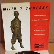 Discos de vinilo: MILIU Y TORESKY / EMILIO Y SU GORRA / EP - ODEON - 1961 / MBC. ***/***. Lote 138757178
