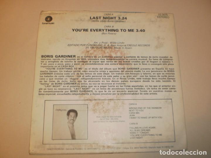 Discos de vinilo: single boris gardiner. last night. fonomusic 1987 spain (probado y bien) - Foto 2 - 138828798