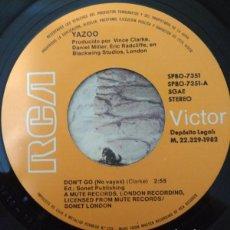 Discos de vinilo: YAZOO – DON'T GO = NO VAYAS (ESPAÑA, 1982) [SIN CARÁTULA]. Lote 138832042