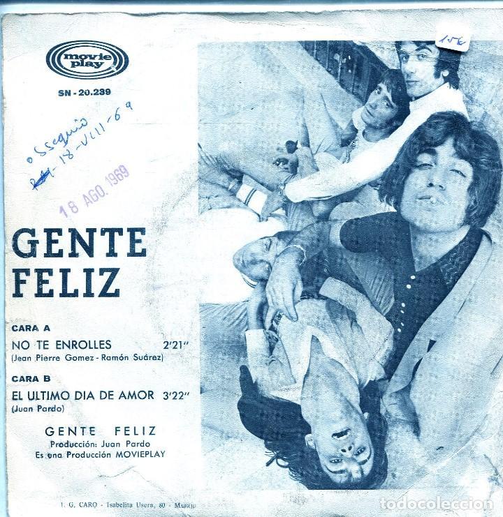 Discos de vinilo: GENTE FELIZ / NO TE ENROLLES / EL ULTIMO DIA DE AMOR (SINGLE 1969) - Foto 2 - 138928926