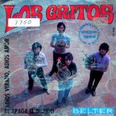 Discos de vinil: LOS GRITOS / ADIOS VERANO, ADIOS AMOR (XI FESTIVAL DE BENIDORM) + 1 (SINGLE 1969). Lote 138933402