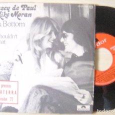 Discos de vinilo: LYNSEY DE PAUL & MIKE MORAN ROCK BOTTOM - SINGLE 77 - POLYDOR - CON PEGATINA DE EUROVICION 2 PREMIO. Lote 139067550
