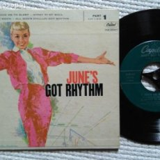 Discos de vinilo: JUNE CHRISTY - '' JUNE'S GOT RHYTHM '' EP 7'' USA 1958. Lote 139093758