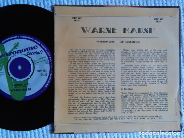 Discos de vinilo: WARNE MARSH - '' YARDBIRD SUITE / JUST SQUEEZE ME '' EP 7'' SWEDEN 1959 - Foto 2 - 139102654