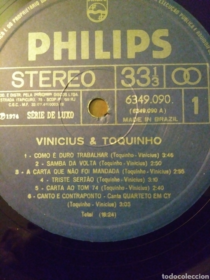 Discos de vinilo: Vinicius & Toquinho.Lp.Philips.1974. - Foto 6 - 139171877