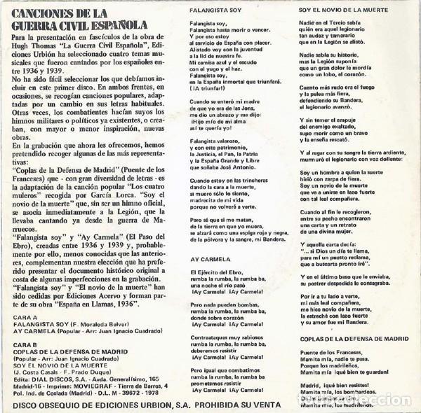 Discos de vinilo: Canciones De La Guerra Civil Española (España, 1978) - Foto 2 - 139233982