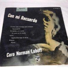 Discos de vinilo: CORO NORMAN LUBOFF, CON MI RECUERDO 33 1/3. Lote 139246870