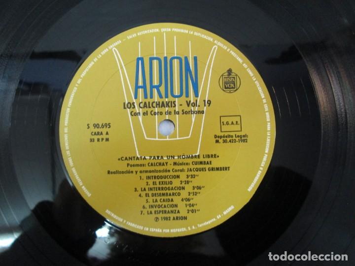 Discos de vinilo: CANTATA PARA UN HOMBRE LIBRE CON EL CORO DE LA SORBONA DE PARIS. LOS CALCHAKIS. LP VINILO - Foto 8 - 139297490