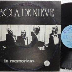 Discos de vinilo: LP BOLA DE NIEVE IN MEMORIAM IGNACIO VILLA ACOMPAÑADO AL PIANO EGREM HABANA CUBA. Lote 139357086