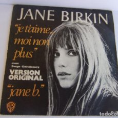 Discos de vinilo: JANE BIRKIN - JE T'AIME... MOI NON PLUS-AVEC SERGE GAINSBOURG - VERSIÓN ORIGINAL- 1977 HISPAVOX. Lote 139361042