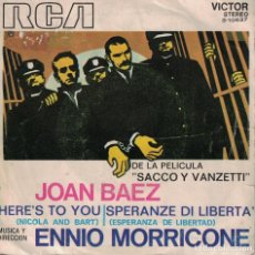 Discos de vinilo: JOAN BAEZ - HERE'S TO YOU / SPERANZE DI LIBERTA (SINGLE ESPAÑOL, RCA 1971). Lote 139391074