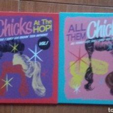 Discos de vinilo: ALL THEM CHICKS AT THE HOP - VOL 1 & VOL 2. Lote 139408905