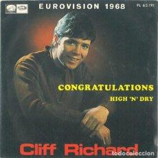 Discos de vinilo: CLIFF RICHARD - CONGRATULATIONS - SINGLE EUROVISION 1968 . Lote 139463418