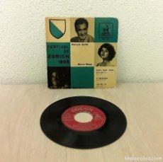 Discos de vinilo: ANTIGUO VINILO SINGLE FESTIVAL DE ZÚRICH 1958 - NUNZIO GALLO + WERA NEPY + DINO SARTI. EP SPAIN 1959. Lote 139578366