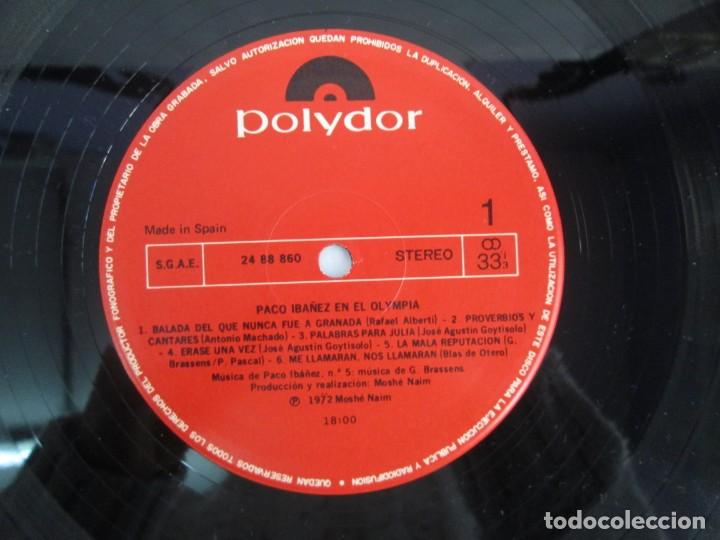 Discos de vinilo: PACO IBAÑEZ EN EL OLYMPIA. LOS UNOS POR LOS OTROS. LP VINILO. POLYDOR. 1972. VER FOTOGRAFIAS ADJUNTA - Foto 4 - 139732202