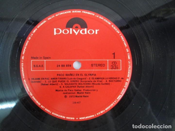Discos de vinilo: PACO IBAÑEZ EN EL OLYMPIA. LOS UNOS POR LOS OTROS. LP VINILO. POLYDOR. 1972. VER FOTOGRAFIAS ADJUNTA - Foto 8 - 139732202