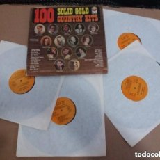 Discos de vinilo: 100 SOLID GOLD COUNTRY HITS / BOX 4 LPS. Lote 139796462