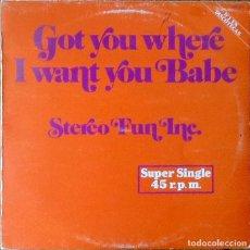 Discos de vinilo: STEREO FUN INC : GOT YOU WHERE I WANT YOU BABE [ESP 1983] 12'. Lote 139815114