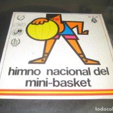 Discos de vinilo: HIMNO NACIONAL DEL MINI-BASKET - BANDA DE LA CASA MILITAR SINGLE 1968. Lote 139820518