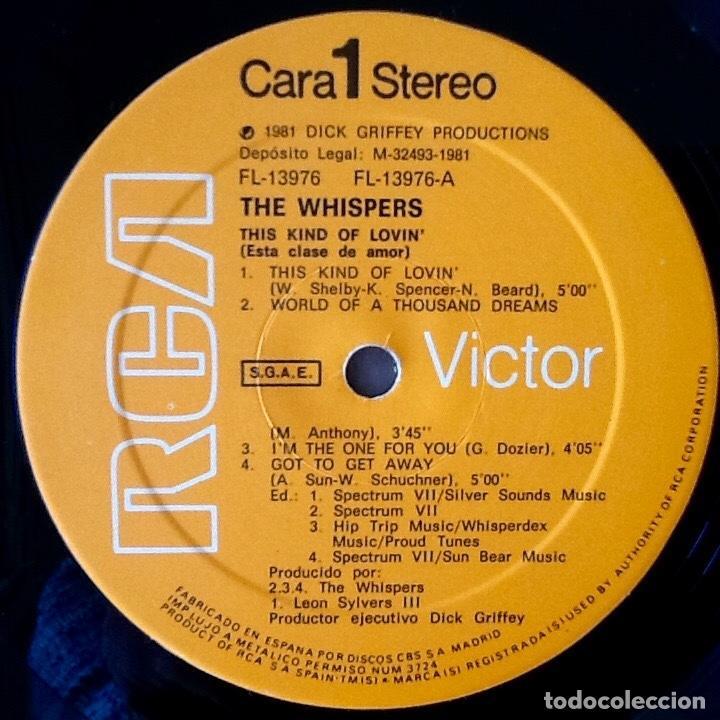 Discos de vinilo: THE WHISPERS : THIS KIND OF LOVIN' [ESP 1981] LP - Foto 3 - 139820718