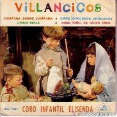 Discos de vinilo: VILLANCICOS / CORO INFANTIL ELISENDA / REGAL 1964 (PORTADA DOBLE CON BELEN INTERIOR). Lote 139822026