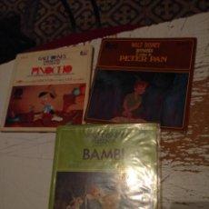 Discos de vinilo: LOTE 3 DISCO LIBROS DISNEYLAND RECORD : BAMBI + PETER PAN + PINOCHO . Lote 139828778