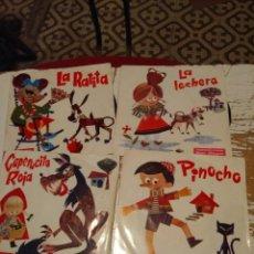 Discos de vinilo: 4 DISCOS DE CUENTOS ( PROMOCION STARLUX) : CAPERUCITA ROJA + PINOCHO + LA LECHERA + LA RATITA . Lote 139829062