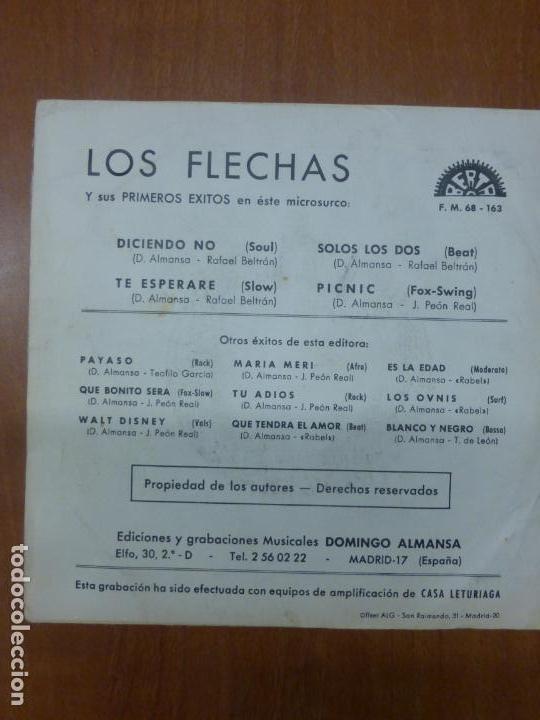 Discos de vinilo: LOS FLECHAS - DICIENDO NO, TE ESPERARÉ / SOLOS LOS DOS, PICNIC - BERTA, 1970 - - Foto 3 - 139899910