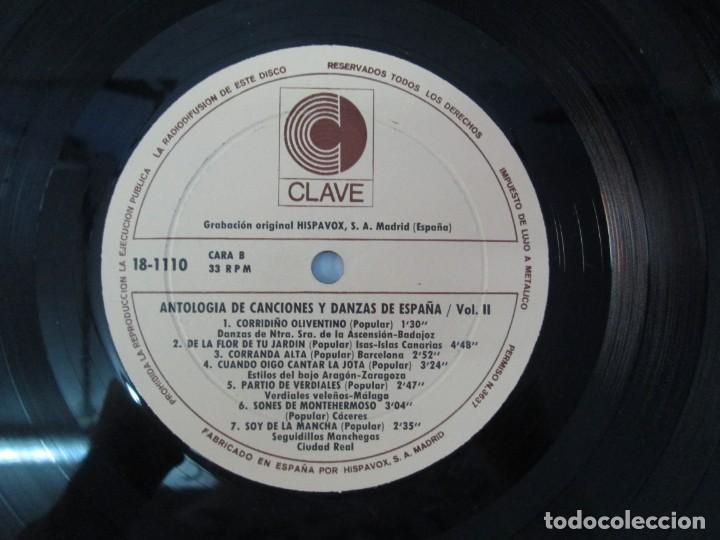 Discos de vinilo: ANTOLOGIA DE CANCIONES Y DANZAS DE ESPAÑA. LP VINILO. CLAVE HISPAVOX 1968. VER FOTOGRAFIAS - Foto 8 - 139934978