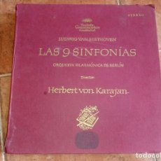 Discos de vinilo: LAS 9 SINFONIAS DE BEETHOVEN CAJA CON 8 DISCOS DE VINILO + LIBRETO 1966 HERBERT VON KATAJAN ESPAÑA. Lote 139942590