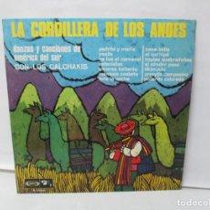 Discos de vinilo: LA CORDILLERA DE LOS ANDES. DANZAS Y CANCIONES DE AMERICA DEL SUR CON LOS CALCHAKIS. LP VINILO 1968. Lote 139951734