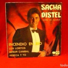 Discos de vinilo: SACHA DISTEL -- INCENDIO EN RIO / LOS LORITOS / SEÑOR CANIBAL / REBECA Y YO,EMI ODEON, 1967.. Lote 140058962