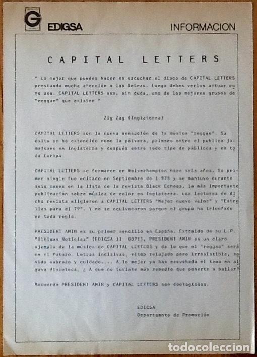 Discos de vinilo: CAPITAL LETTERS : HEADLINE NEWS [ESP 1980] LP - Foto 3 - 140118098