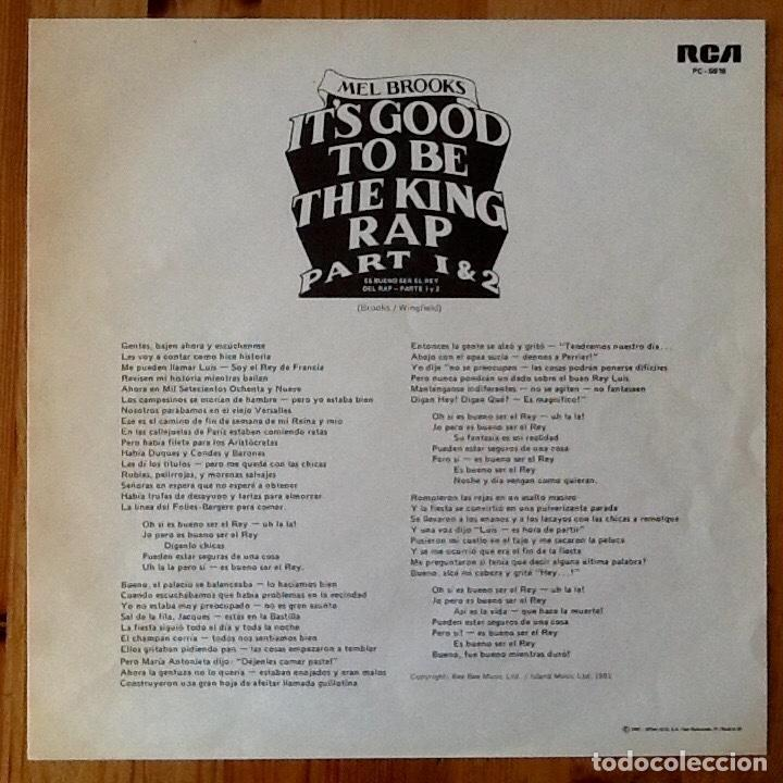 Discos de vinilo: MEL BROOKS : ITS GOOD TO BE THE KING PART 1 & 2 [ESP 1981] 12 - Foto 3 - 140118954