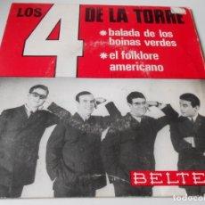 Discos de vinilo: LOS 4 DE LA TORRE, SG, EL FOLKLORE AMERICANO + 1, AÑO 1966. Lote 140238722