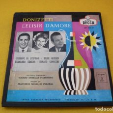 Discos de vinilo: 3X LP BOX DONIZETI L'ELISIR D'AMORE GUIUSEPPE DI STEFANO HILDE GUEDEN LXT 5155. Lote 140253590