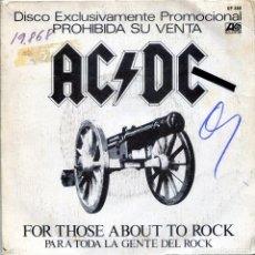 Discos de vinilo: AC/ DC / PARA TODA LA GENTE DEL ROCK / C.O.D. (SINGLE PROMO 1981). Lote 140260066