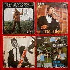 Discos de vinilo: TOM JONES (LOTE 4 SINGLES 1966-68) UN HOMBRE LLORARÁ - I'M COMING HOME - DELILAH - HELP YOURSELF. Lote 140276566