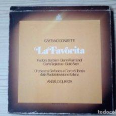 Discos de vinilo: GAETANO DONIZETTI - LA FAVORITA - 3 LP CON CAJA. Lote 140294386