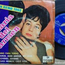 Discos de vinilo: MARIA DEL CARMEN - SAN REMO 1963 -UNO PARA TODAS. Lote 140403630