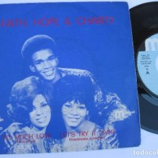 Discos de vinilo: FAITH, HOPE & CHARITY - 45 SPAIN PS - MINT * SO MUCH LOVE / LET' S TRY IT OVER. Lote 140434470