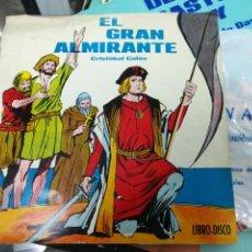 Discos de vinilo: EL GRAN ALMIRANTE CRISTÓBAL COLON LIBRO DISCO FLEXI DISC 1963. Lote 140520162