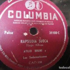 Discos de vinilo: ESTAMBUL FOX TROT MARIO CESARI RAPSODIA SUECA ATILIO BRUNI Y LOS SUDAMERICANOS POLCA 78RPM K8 G-. Lote 140538378