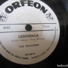 Discos de vinilo: LOS HOOLIGANS DESPEINADA BAT MASTERSON COLOMBIA LABEL ORFEON BLANCO 78RPM K8 G RAREZA. Lote 140539402