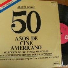 Discos de vinilo: 50 AÑOS DE CINE AMERICANO - DOBLE LP 1978 -DOBLE PORTADA. Lote 140571742