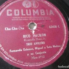 Discos de vinilo: TRIO AVILEÑO CHA CHA CHA RICO VACILON 78RPM K8 G-. Lote 140655850