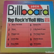 Discos de vinilo: BILLBOARD 1959 THE ROCK´N´ROLL HITS ELVIS BOBBY DARIN PAUL ANKA COASTERS LLOYD PRICE SANTO & JOHNNY. Lote 140657278